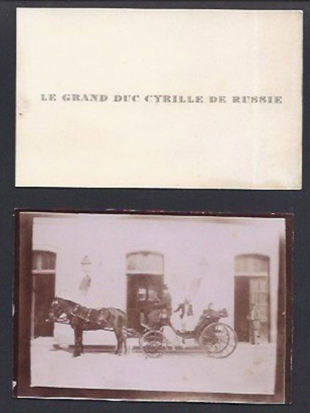 Grand Duke Cyril Romanov of Imperial Russia Antique Calling Card & Photo 1905